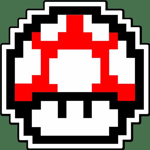 Sticker Mario Bros Mushroom Red Pixel Muraldecal Com