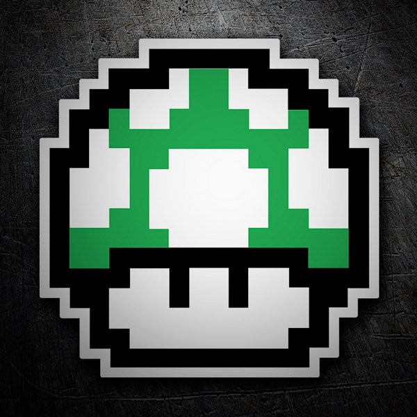 Car and Motorbike Stickers: Mario Bros Mushroom Green Pixel