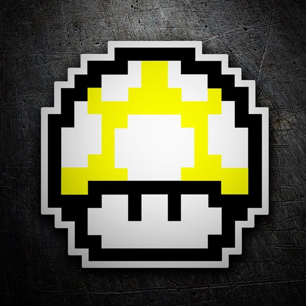Car and Motorbike Stickers: Mario Bros Mushroom Yellow Pixel
