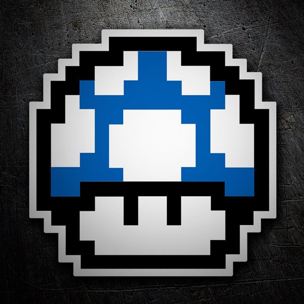 Car and Motorbike Stickers: Mario Bros Mushroom Blue Pixel
