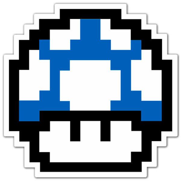 Adhesivo Mario Bros Seta Pixel Blue Muraldecalcom