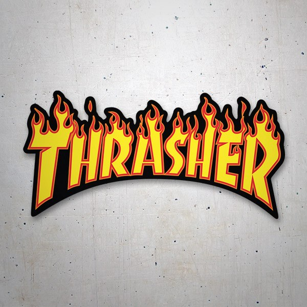 Car & Motorbike Stickers: Thrasher Flaming Logo