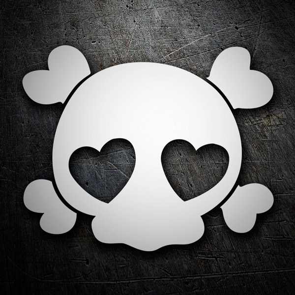 Car and Motorbike Stickers: Skull bones love