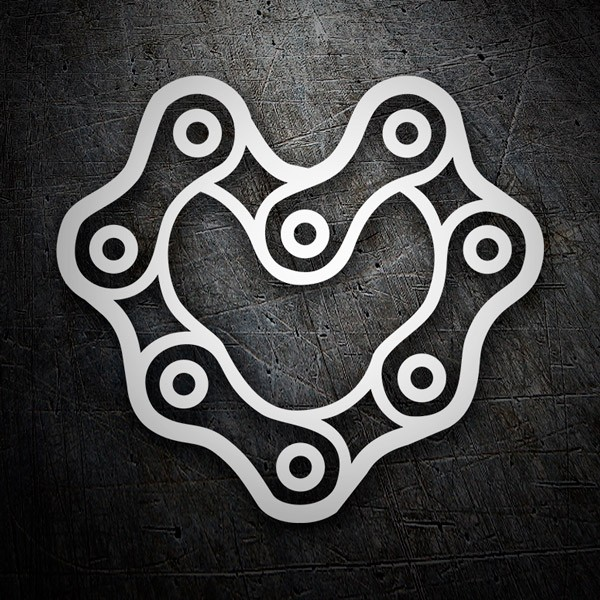 Car & Motorbike Stickers: Heart Motorcycle Chain