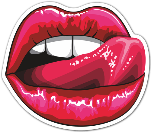 Car motorbike stickers licking red lips