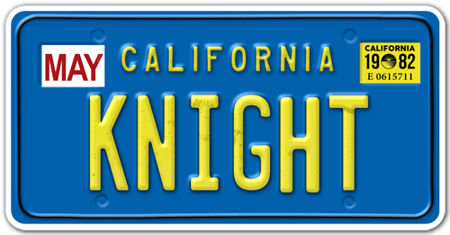 Sticker Knight Rider License Plate 1982 Tv Series