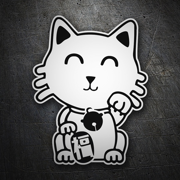 Car & Motorbike Stickers: White Chinese Cat