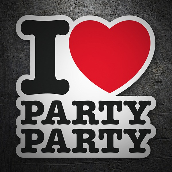 Car & Motorbike Stickers: I love party