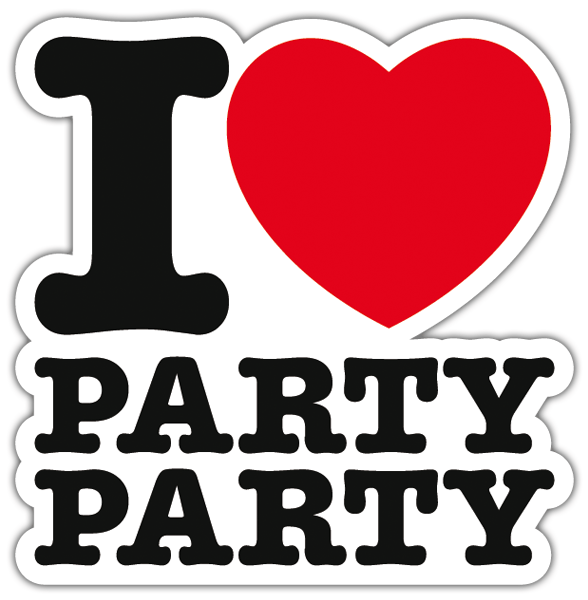 I love party party sticker with a heart | MuralDecal com