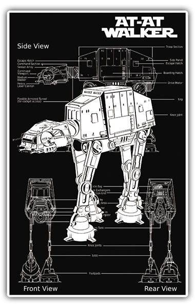 Car and Motorbike Stickers: Star Wars AT-AT