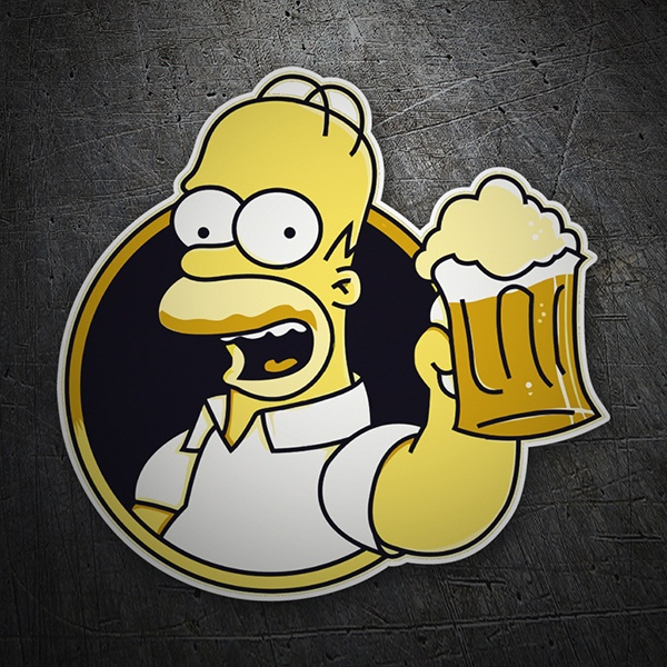 Car & Motorbike Stickers: Homer drinking beer
