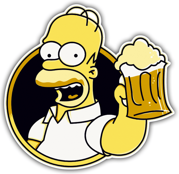 Sticker Homer Drinking Beer Muraldecal Com