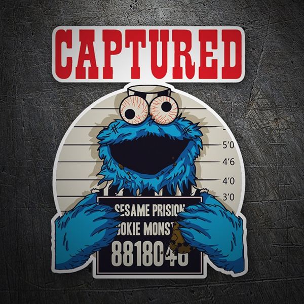 Car and Motorbike Stickers: Captured cookie monster 1