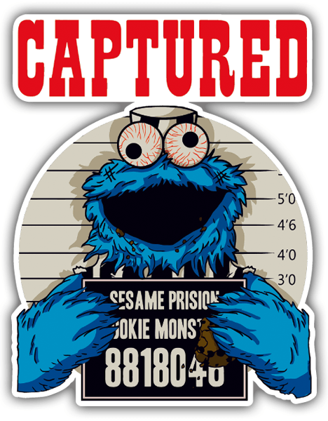 Car and Motorbike Stickers: Captured cookie monster 0