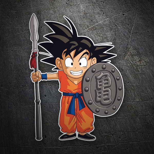 Car & Motorbike Stickers: Goku with spear and shield