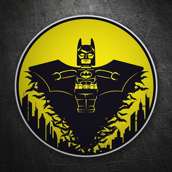 Car & Motorbike Stickers: Batman Lego over Gotham