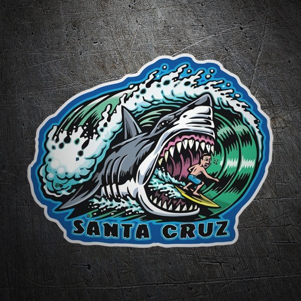 Car & Motorbike Stickers: Surfer and shark Santa Cruz