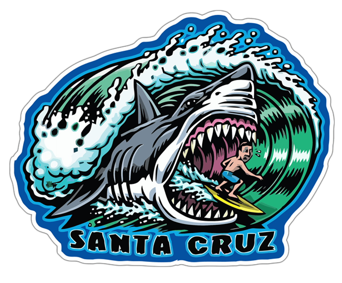 Car & Motorbike Stickers: Santa Cruz Surfers and Sharks