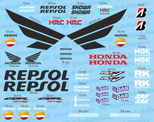Car & Motorbike Stickers: Kit Honda CBR Repsol Racing 0