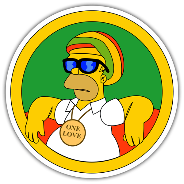 Car & Motorbike Stickers: Homer Simpson Reggae