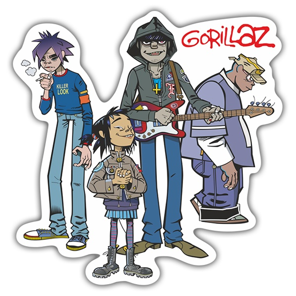 Car & Motorbike Stickers: Gorillaz, 2-D, Noodle, Murdoc and Russel