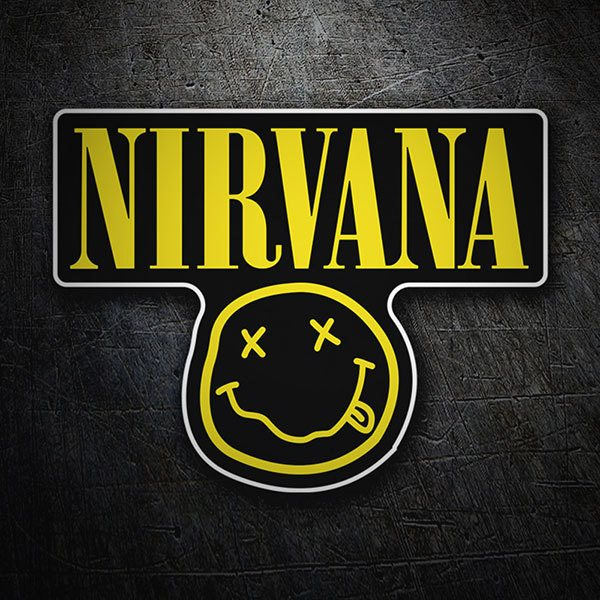 Car & Motorbike Stickers: Nirvana and Smiley Drunk Black