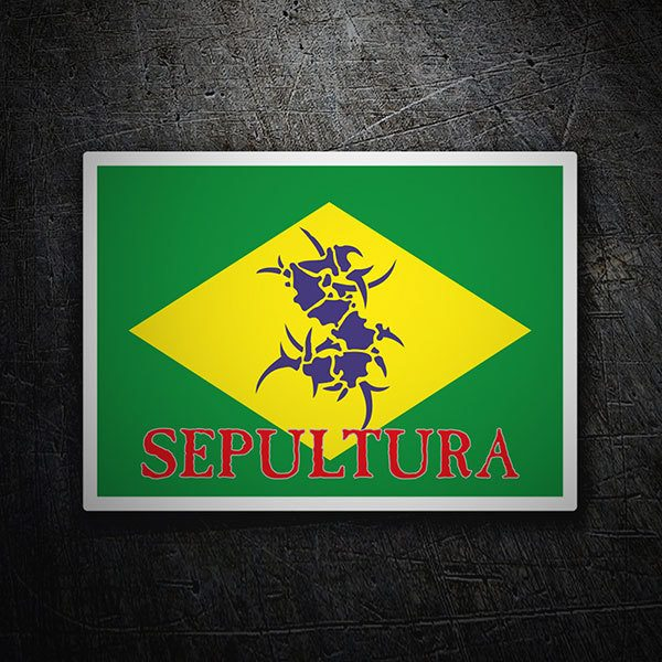 Car & Motorbike Stickers: Sepultura + Brazil flag