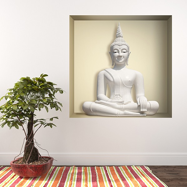 Wall Stickers: Niche White Buddha