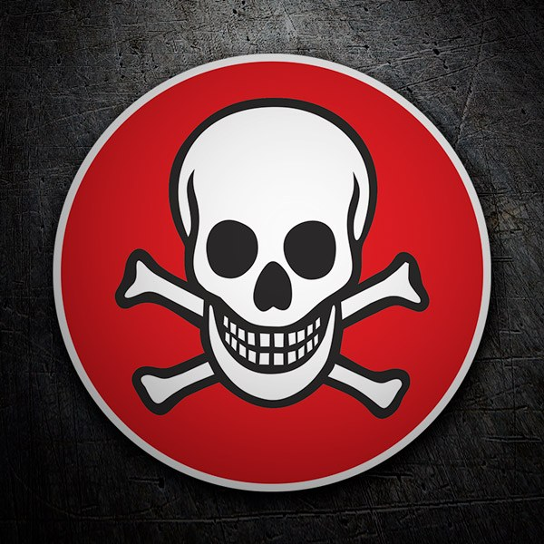 Car and Motorbike Stickers: Red background skull sticker