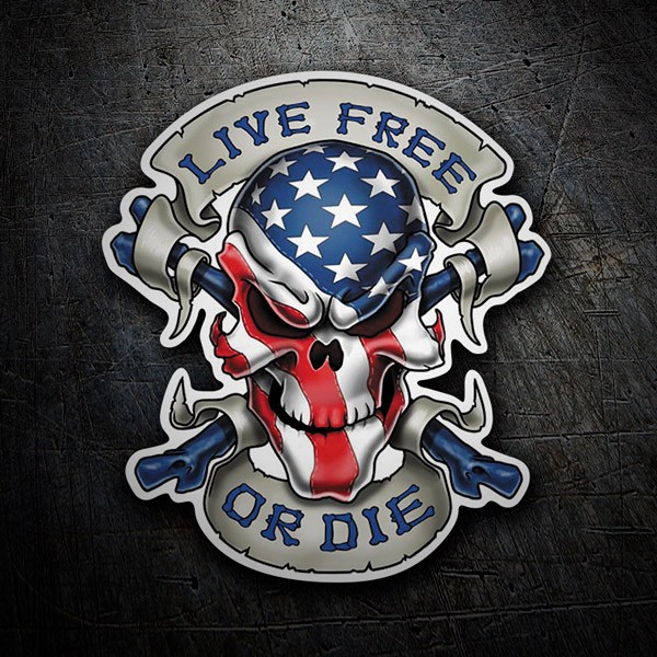 Car & Motorbike Stickers: Skull Live Free or Die