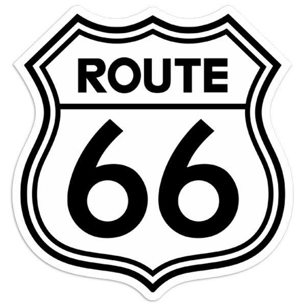 Car & Motorbike Stickers: Route 66 White