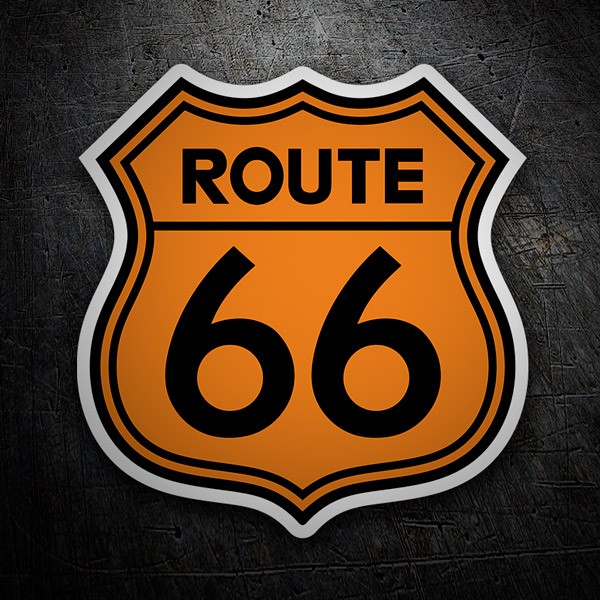 Car & Motorbike Stickers: Route 66 orange