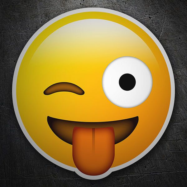 Car & Motorbike Stickers: Face winking stuck-out tonge emoji
