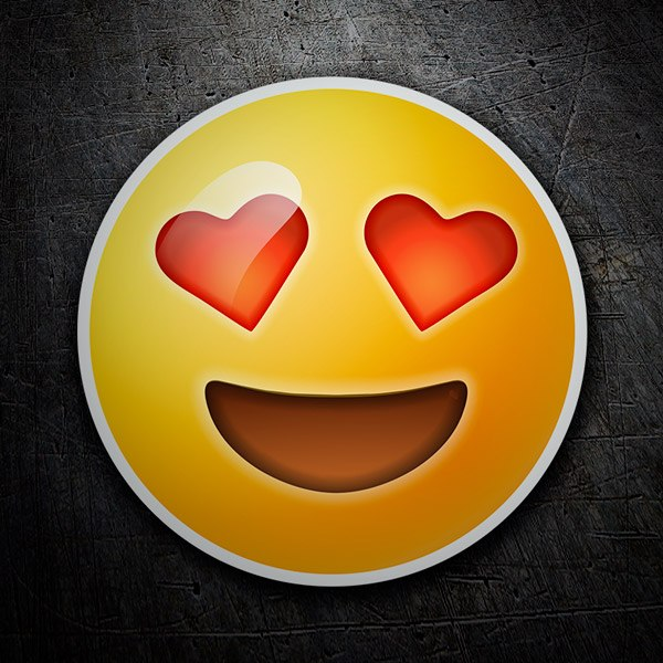 Car and Motorbike Stickers: Smiling Face With Heart-Shaped Eyes emoji