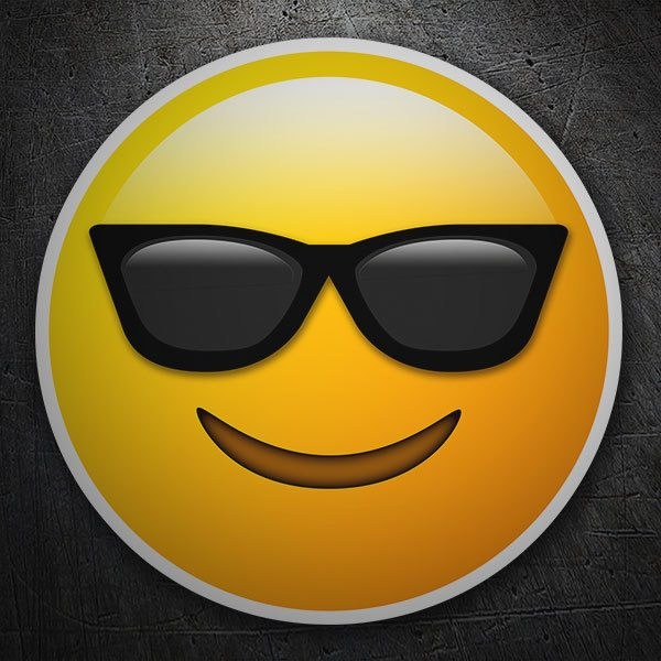 Car and Motorbike Stickers: Smiling Face With Sunglasses
