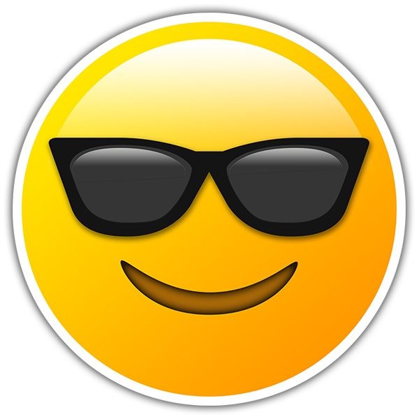 Car & Motorbike Stickers: Smiling Face With Sunglasses