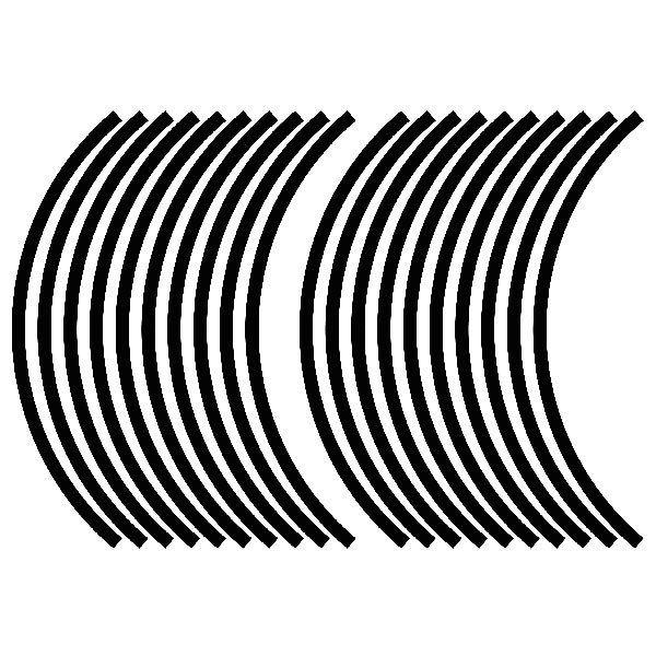 Car & Motorbike Stickers: Gereric rim stripes kit 2 wheels 10mm.