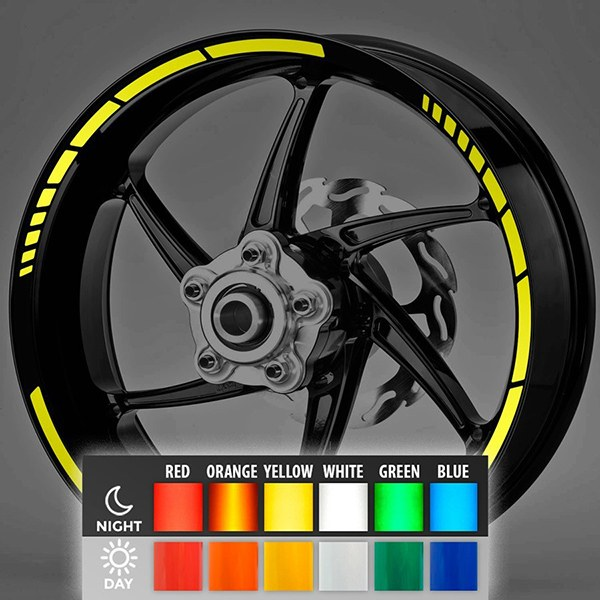 Car & Motorbike Stickers: MotoGP Style Reflective rim stripes 2 wheels 10mm.