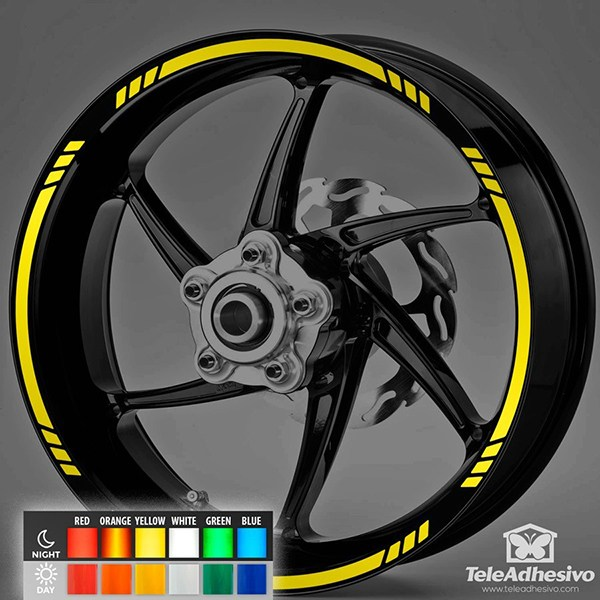 Car & Motorbike Stickers: Reflective MotoGP Style 3 rim stripes kit 2 wheels