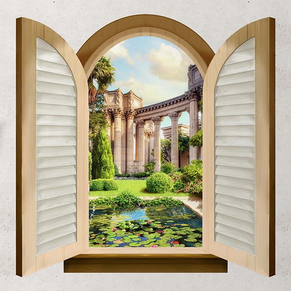 Wall Stickers: Window pond and Corinthian columns