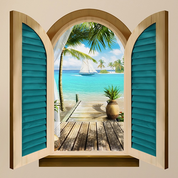 Wall Stickers: Window Paradise by the sea
