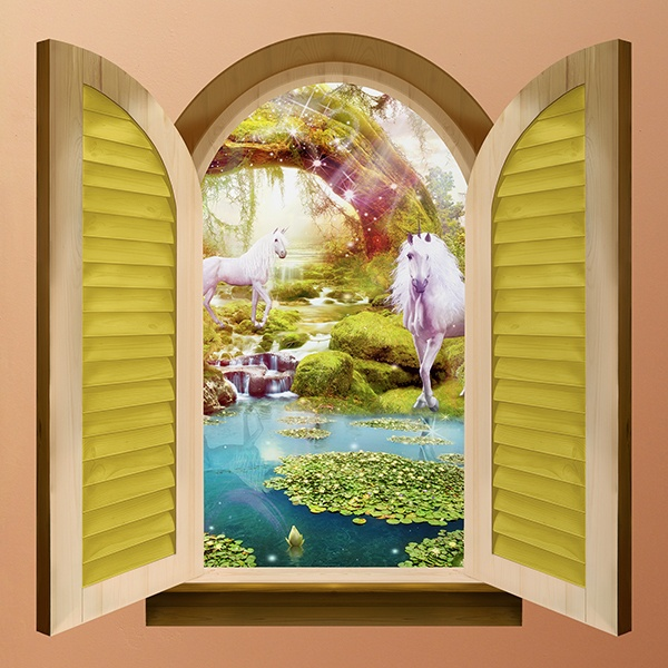 Wall Stickers: Window horses in a fairytale garden