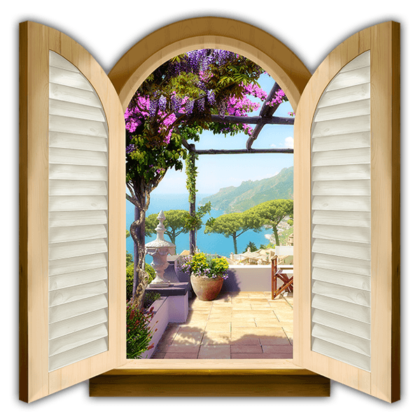 Wall Stickers: Window terrace overlooking the sea