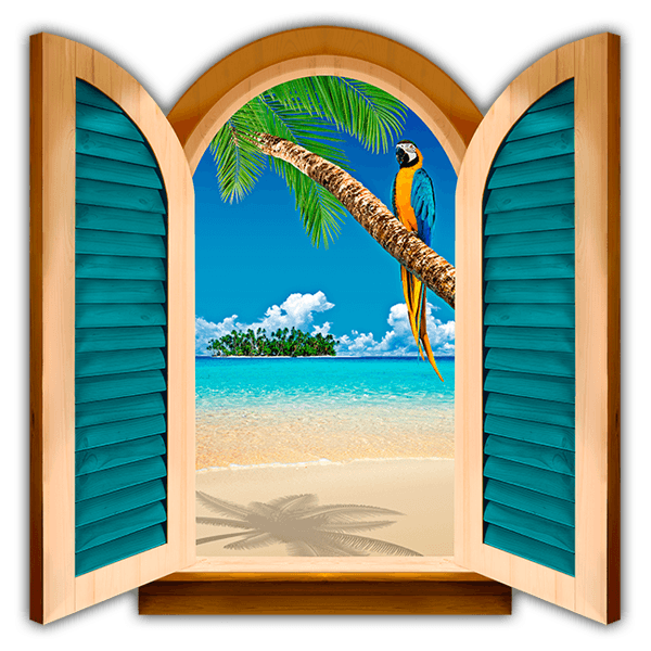 Wall Stickers: Window Parrot in a Palm tree