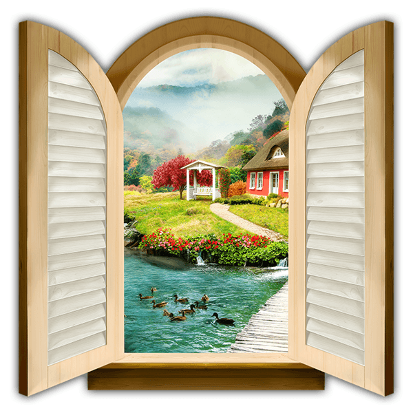 Wall Stickers: Window cottage by the river