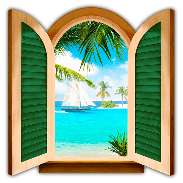 Wall Stickers: Window Sailing on the sea