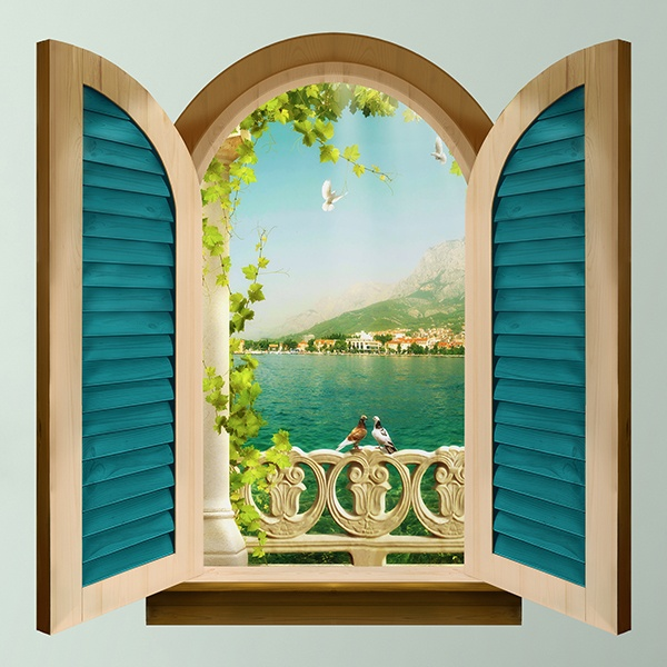 Wall Stickers: Window enamored pigeons