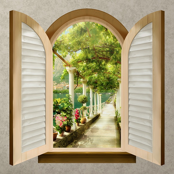 Wall Stickers: Window Footbridge across the Lake