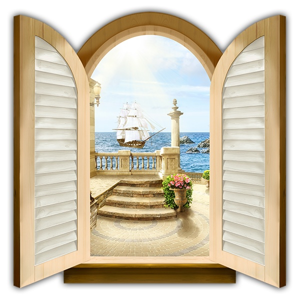 Wall Stickers: Window Caravel sailing
