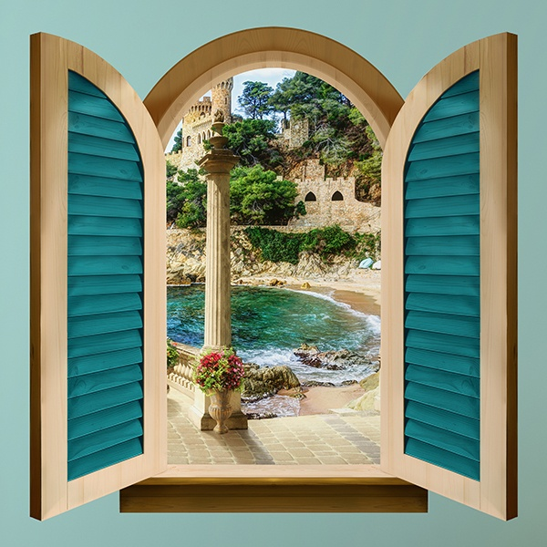 Wall Stickers: Window lookout castle beach